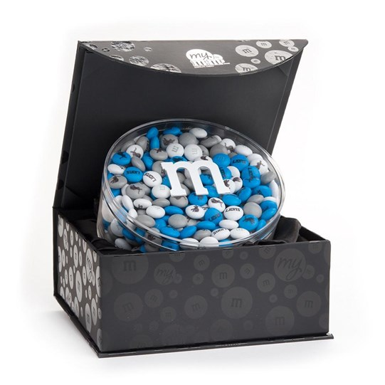 Detroit Lions NFL M&M'S Black Gift Box, Front View of Round Acrylic inside Black Box