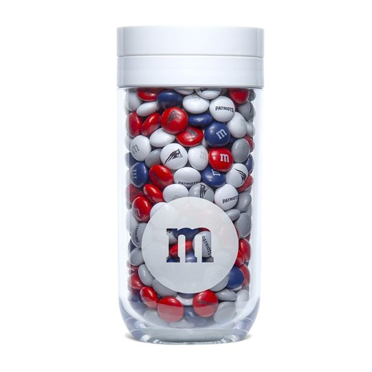 New England Patriots NFL M&M'S Candy Gift Jar - Patriots-themed M&M'S inside jar.