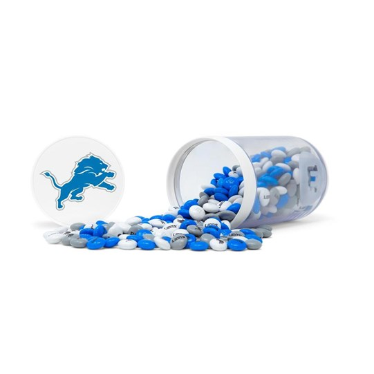 Detroit Lions NFL M&M'S Candy Gift Jar, Alt View of Jar on Side and Lions Logo on Lid