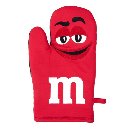 "M&M'S Character Big Face Oven Mitt, Front View of Oven Mitt Featuring Character & ""m"" Logo in White"