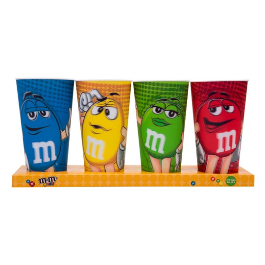 M&M'S 3D Character Cups, 4 Pack, Front View of Blue, Yellow, Green & Red 3D Character Cups in Packaging