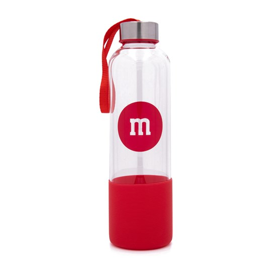 "M&M'S Glass Bottle with Silicone Bottom, Front View of Glass Bottle with ""m"" Logo & Silicone on Bottom"