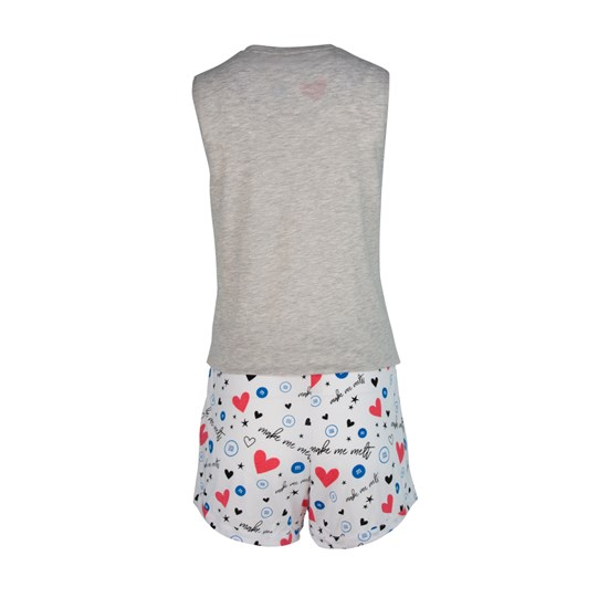 Ladies M&M'S Make Me Melt Tank and Short Set, Back View of Grey Cut-Off Tee Paired with White Patterned Draw String Shorts