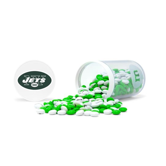 New York Jets NFL M&M'S Candy Gift Jar filled with green and white, Jets-themed M&M'S. Jets logo on lid of jar. Candy spilled.