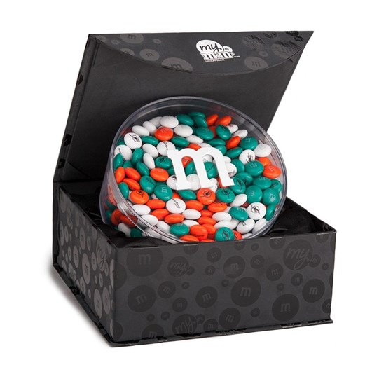 Miami Dolphins NFL M&M'S Black Gift Box - Dolphins-themed M&M'S inside gift box.