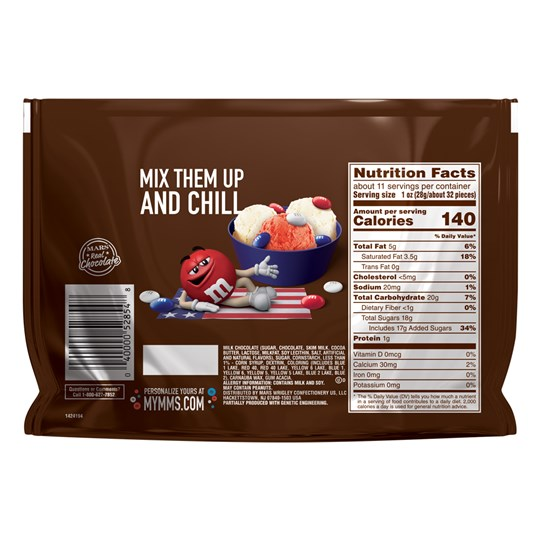 M&M'S Red, White & Blue Patriotic Milk Chocolate Candy 10.7 oz Bag, Sharing Size, Back of Package with Nutritional Info.