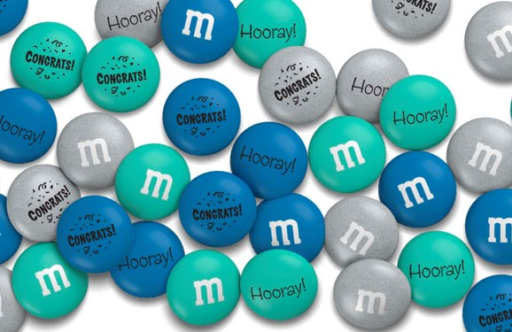 Personalized M&M'S congrats gift with custom messages