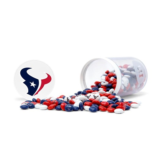 Houston Texans NFL M&M'S Candy Gift Jar - Texans-themed M&M'S inside clear gift jar. Candy spilled.