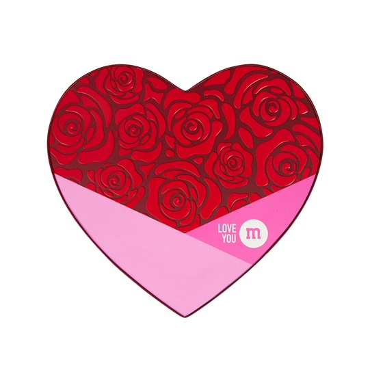 M&M'S 10 oz Heart Shaped Candy Gift Box - Pink and red lid