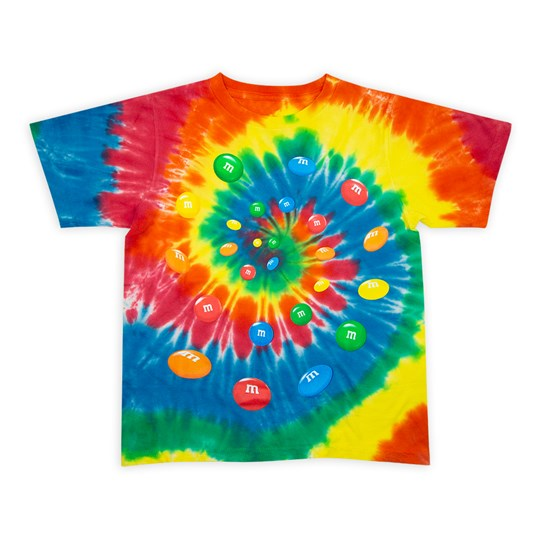Youth M&M'S Tie Dye Tee, Front View of T-Shirt Showing Tie Dye Pattern with Swirl of Colorful M&M'S Lentils