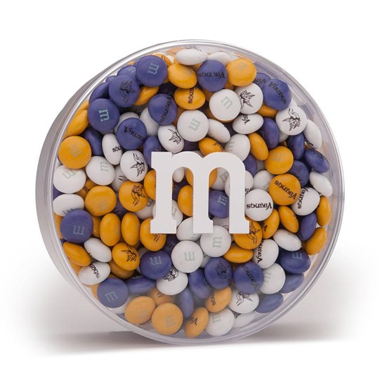 Minnesota Vikings NFL Round Gift Box - Vikings-themed M&M'S inside clear gift box.