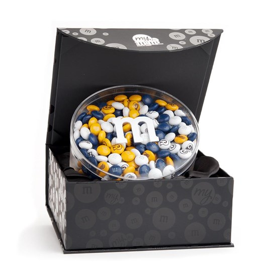 Los Angeles Rams NFL Candy Acrylic in Black Gift Box - Rams-themed M&M'S inside gift box.