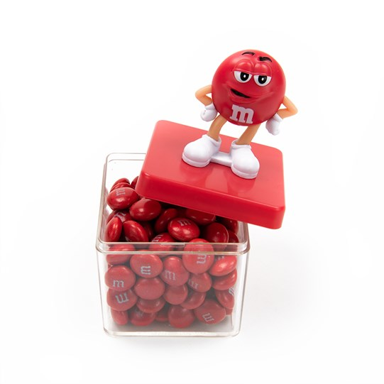 M&M'S Character Cube Gift Box, Alt View of Container Filled with M&M'S and Character Figurine on Lid