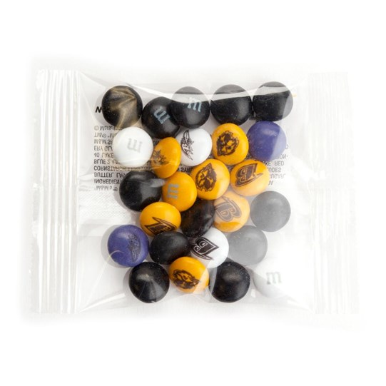 Baltimore Ravens NFL M&M'S Party Favor Packs, Front View of 1 Party Favor Pack Filled with Ravens-themed M&M'S