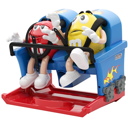Rollercoaster M&M'S Dispenser, Side View of M&M'S Red & Yellow Characters Riding on a Rollercoaster Ride.
