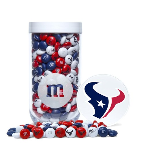 Houston Texans NFL M&M'S Candy Gift Jar - Texans-themed M&M'S inside clear gift jar. Lid has logo/emblem printed on top.