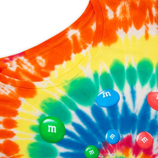 Ladies M&M'S Tie Dye Tee, Up Close View of T-Shirt Showing Tie Dye Pattern & Colorful Swirl of Lentils in Center