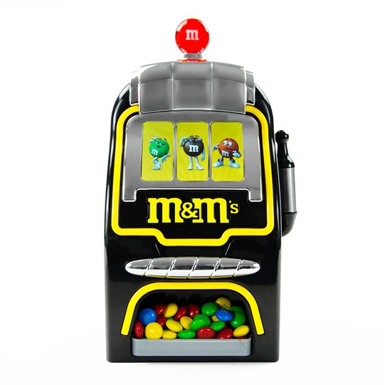 Digital Slot Machine M&M'S Candy Dispenser - Black and yellow with digital functionality.