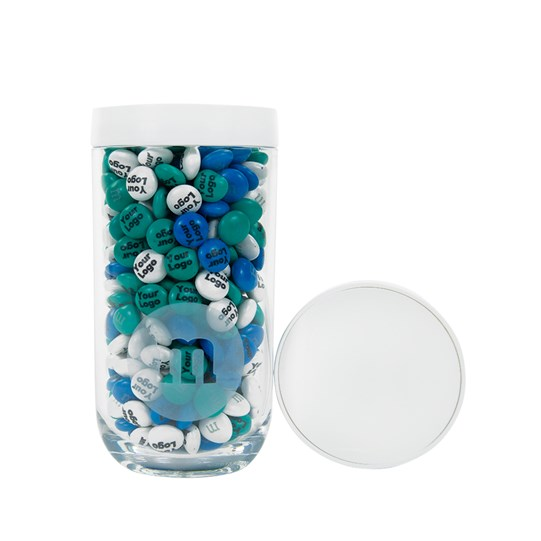 Front view, showing the white lid of the Personalizable M&M'S Business Gift Jar