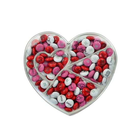 M&M'S Heart Shaped Candy Box - Clear heart box with M&M'S inside