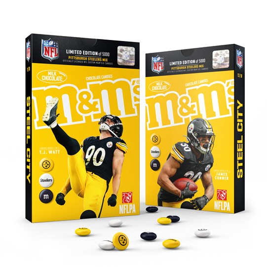 The Official NFL M&M'S Pittsburgh Steelers Limited Edition Player Pack. Front View