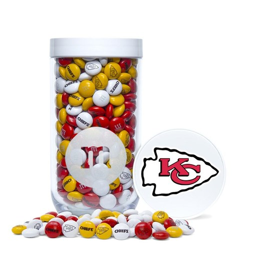 Kansas City Chiefs NFL M&M'S Candy Gift Jar - Chiefs-themed M&M'S inside clear gift jar. Lid shown with printed logo on top.
