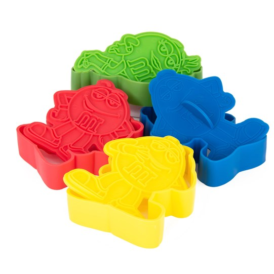 M&M'S Character Cookie Cutter Set, Side View of M&M'S Character Cookie Cutters in Blue, Yellow, Red & Green Characters