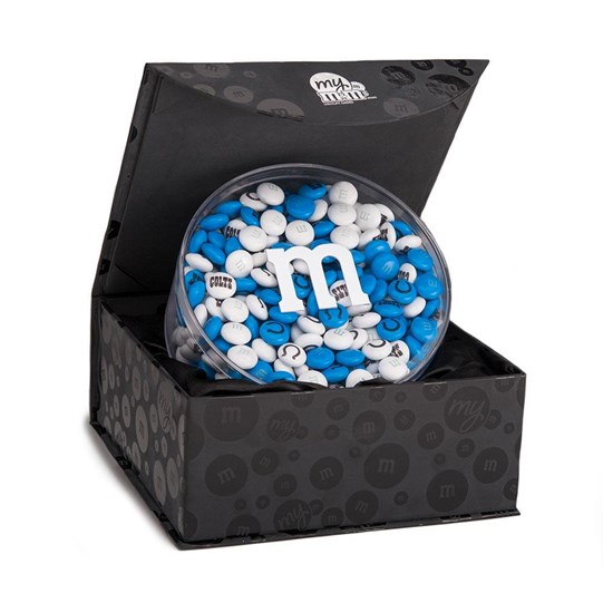 Indianapolis Colts NFL Candy Acrylic in Black Gift Box - Colts-themed M&M'S in gift box.