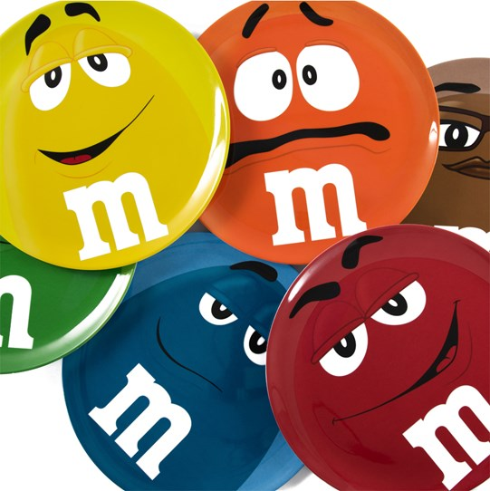 M&M'S Character Big Face Plate, Stacked View of all Six M&M'S Color Character Plates Available