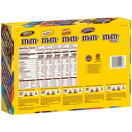 M&M'S Chocolate Candy Variety Box (Pack of 30), Back View of Box
