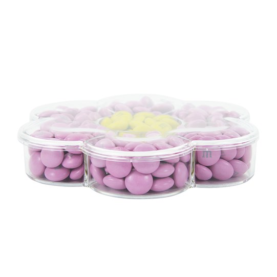 Pre-Designed Pink and Yellow M&M'S Flower Gift Box, Side View fpr Depth of Flower Box