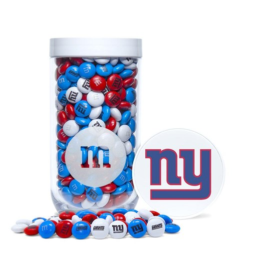 New York Giants NFL M&M'S Candy Gift Jar - Red, white and blue Giants-themed M&M'S fill jar. Jar included logo printed on lid.