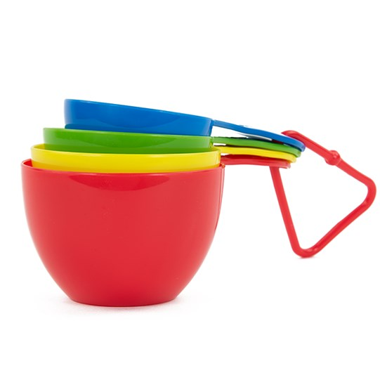M&M'S Measuring Cups, Side View of All 4 Measuring Cups Stacked Together - Red, Yellow, Green & Blue