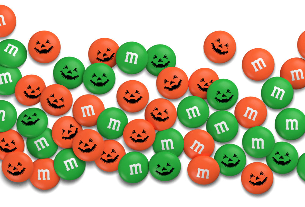 Personalized Halloween candy M&M'S on a white background