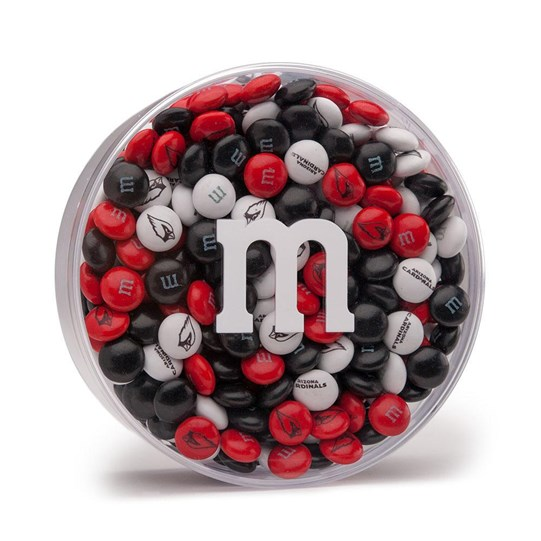 "Arizona Cardinals NFL M&M'S Black Gift Box, Front View of Round Acrylic with ""m"" Logo filled with Cardinals M&M'S"