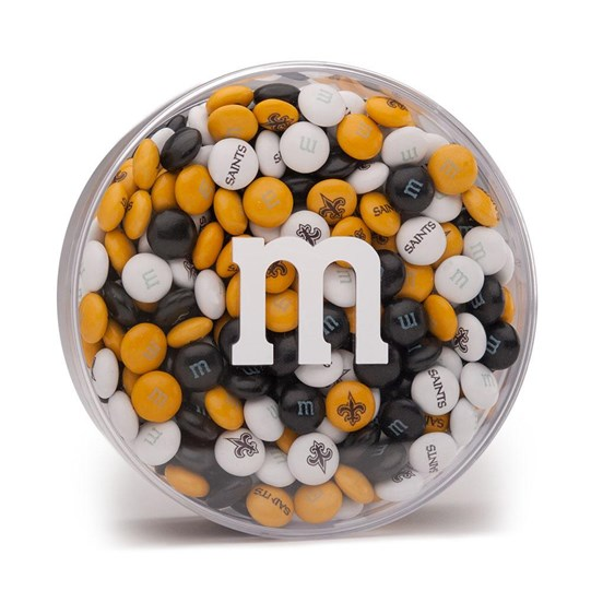 New Orleans Saints NFL Round Gift Box - Yellow, black and white Saints-themed M&M'S fill round gift box.