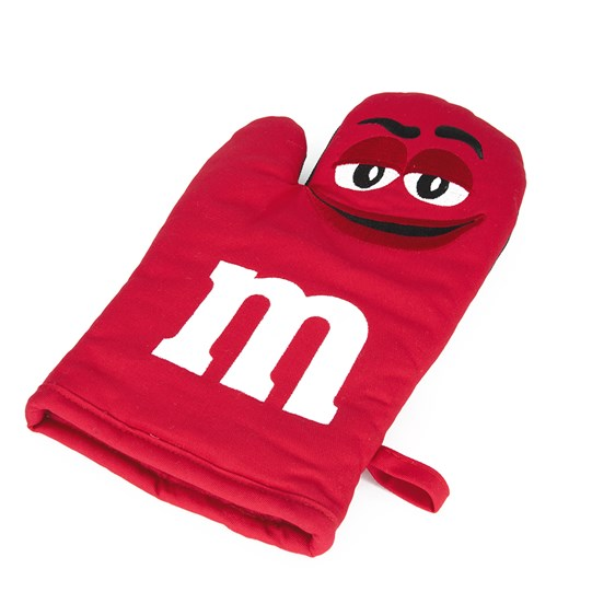 "M&M'S Character Big Face Oven Mitt, Alt View of Oven Mitt Featuring Character & ""m"" Logo in White and Loop"