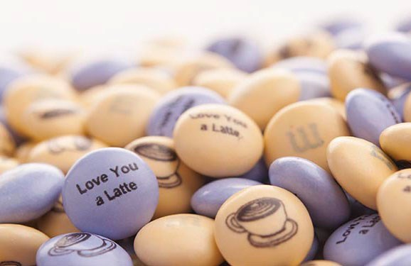 Personalized Valentine's Day gift M&M'S on a white background