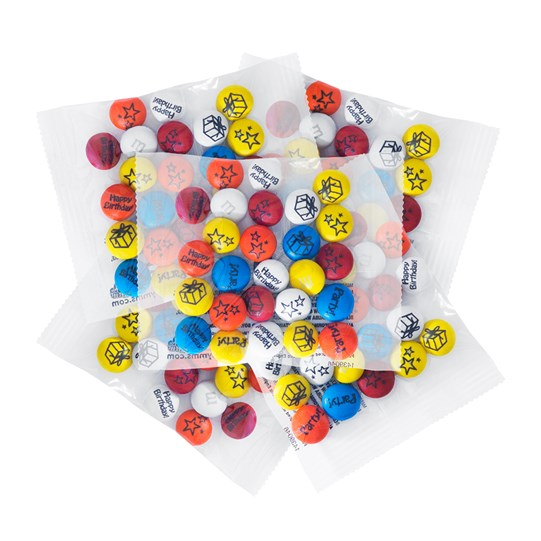 Pre-Designed Birthday M&M'S Party Favor Packs - Red, orange, yellow, blue and orange colored M&M'S