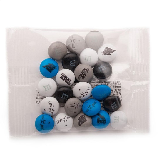 Carolina Panthers NFL Party Favor Packs, Front View of 1 Party Favor Pack Filled with Panthers-themed M&M'S