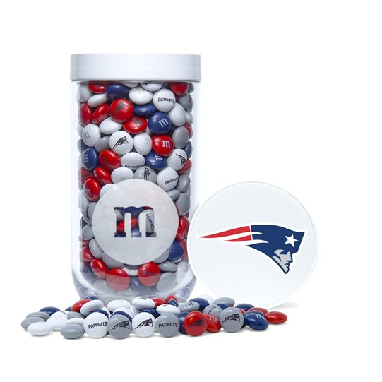 New England Patriots NFL M&M'S Candy Gift Jar - Patriots-themed M&M'S inside jar. Jar includes logo/emblem printed on top.