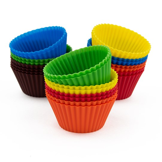 M&M'S Silicone Baking Cups, Front View of Silicone Baking Cups in Variety of Colors Stacked