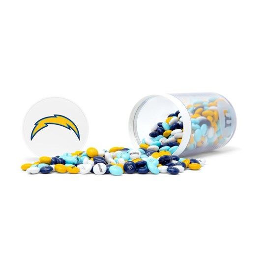 Los Angeles Chargers NFL M&M'S Candy Gift Jar - Shown on side angle with candy spilled.