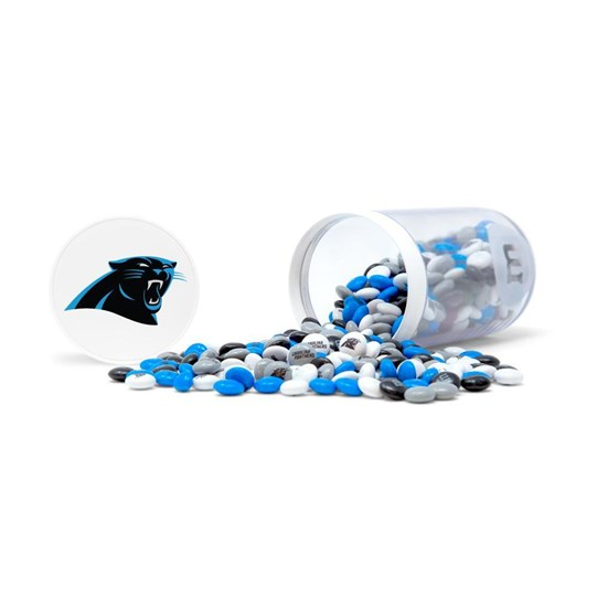 Carolina Panthers NFL Candy Gift Jar, Alt View of Gift Jar on Side filled with Panthers M&M'S & Panthers Logo on Lid