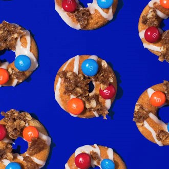 Chewy M&M'S Caramel Baked Doughnuts