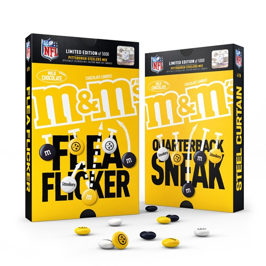 Officially Licensed Pittsburgh Steelers M&M'S Milk Chocolate Candies Sweet Play Pack, Pack of 2. Front View