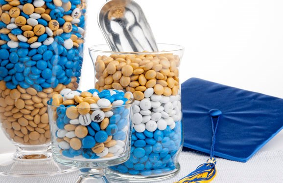 Personalized graduation party favor M&M'S in cylinder glass serving dishes
