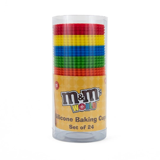 M&M'S Silicone Baking Cups, Front View of Silicone Baking Cups in Variety of Colors Inside Packaging