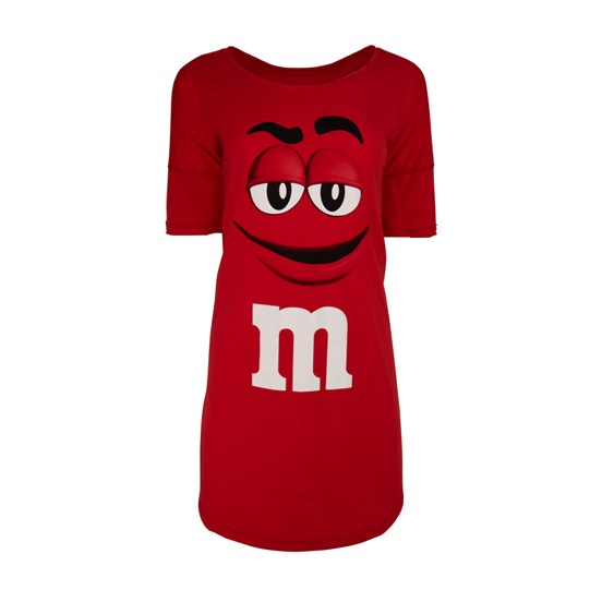 Ladies M&M'S Character Dorm Shirt, Front View of Oversized Bed Shirt with M&M'S Character on Front