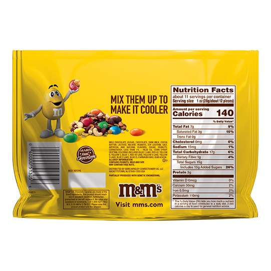 Back of M&M'S Peanut Candy Messages Sharing Size, 10.7 oz Bag
